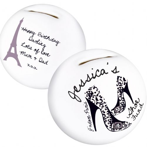 Personalised  Paris Shoe Money Box